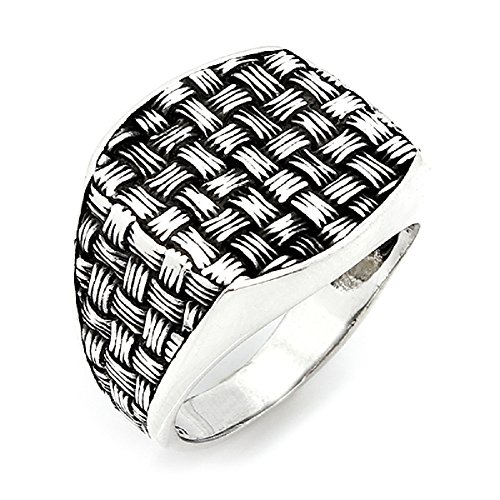 argunjewellery Turkish Ottoman Jewelry Nice Braid Motif 925K Sterling Silver Men's Ring ()