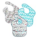 Bumkins Waterproof SuperBib 3 Pack, Neutral (N15-Urban Bird/Blue Chevron/Bird Park) (6-24 Months)