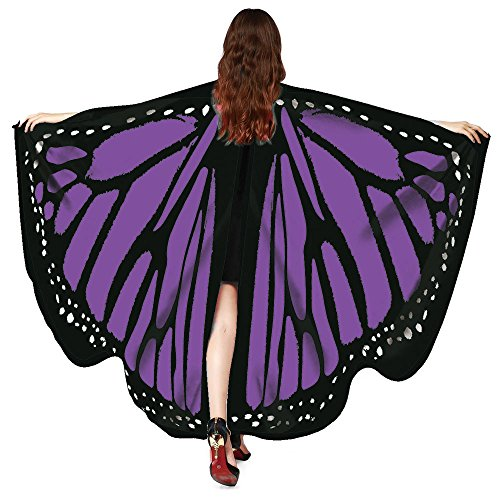 KNDDY Christmas Halloween Party Soft Fabric Butterfly Wings Shawl Fairy Ladies Nymph Pixie Costume Accessory Purple