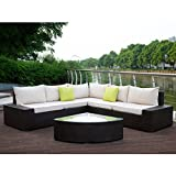 U-MAX 6 Pieces Patio PE Rattan Wicker Sofa Outdoor Sectional Patio Furniture Sets (Brown Rattan+Tan Cushions)