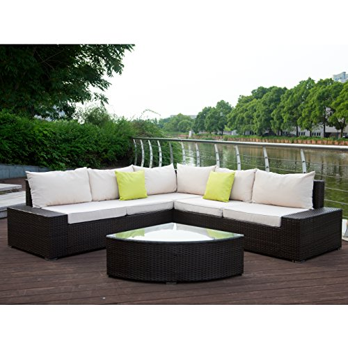U-MAX 6 Pieces Patio PE Rattan Wicker Sofa Outdoor Sectional Patio Furniture Sets (Brown Rattan+Tan (Tan Sectional Sofa)
