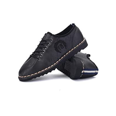 Shoes Mens Casual Shoes Leather Lace-up Shoes Comfort Driving Shoes (Color : Black Size : 43)
