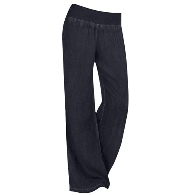 1585d3a76d HLHN Women Wide Leg Trousers, Casual Elastic High Waist Denim Plus Size  Pants Jeans Trousers: Amazon.co.uk: Clothing