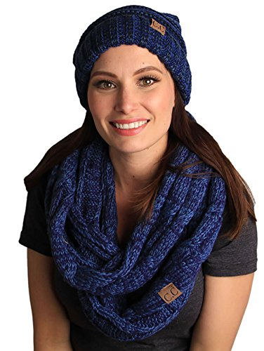 (bHS-6100-6231 Oversized Beanie Scarf Bundle - Midnight Blue )