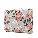 Canvaslife Pink Rose Pattern 13 inch Canvas laptop sleeve with pocket 13 inch 13.3 inch laptop case macbook air 13 case macbook pro 13 sleeve