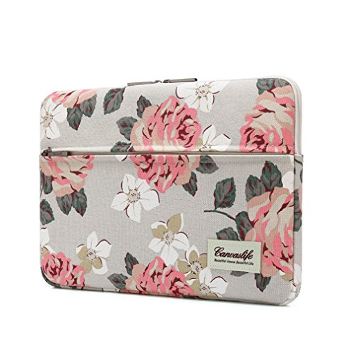 Canvaslife Pink Rose Pattern 13 inch Canvas Laptop Sleeve with Pocket 13 inch...