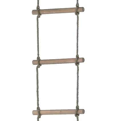 WICKEY Escalera de cuerda 6 peldaños heavy, gimnasia para escaleras de madera, escalera de cuerda