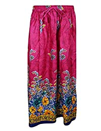 Mogul Womans Festive Skirt Floral Printed Pink A-Line Flare Bohemian Long Skirts