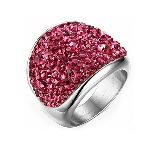 Womens Stainless Steel Domed Pink CZ Crystal Engagement Ring Promise Wedding, Base,Size 8