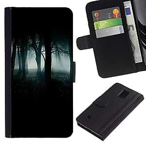 Paccase / Billetera de Cuero Caso del tirón Titular de la tarjeta Carcasa Funda para - Forest Green Mist Fog Dark Spooky - Samsung Galaxy Note 4 SM-N910