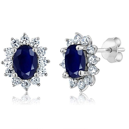 Gem Stone King 2.76 Ct Oval 7X5MM Blue Sapphire 925 Sterling Silver Women's Jewelry Halo Princess Diana Kate Middleton Post Earrings