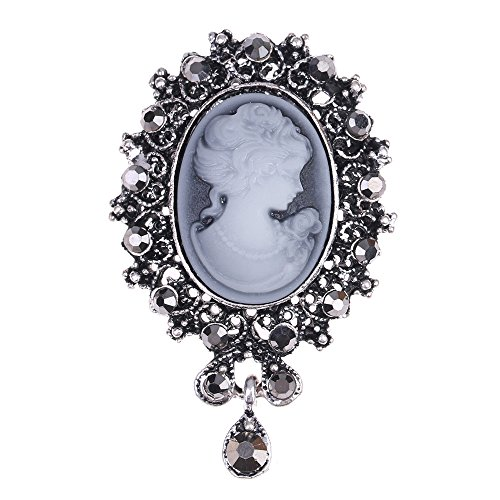 LUREME Vintage Elegant Victorian Lady Beauty Cameo with Crystal Brooch Pin (br000017-2) Antique Silver