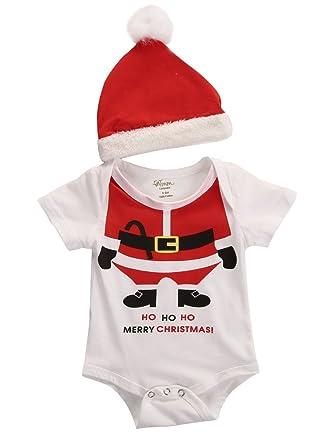 e92ba142b252 Christmas Newborn Baby Girl Boy Romper+Santa Hat 2pcs Outfits Set Clothes  0-18M