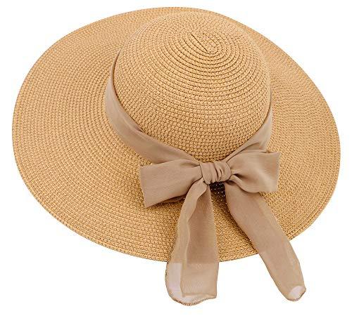 Simplicity Women's Summer Foldable Wide Brim Straw Sun Visor Hats, 280_Natural