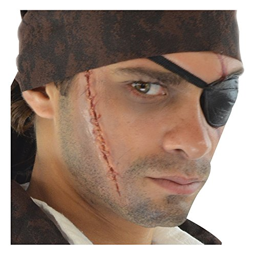 (Loftus International Deluxe Pirate Scar & Eyepatch Complete 8Pc Makeup Kit, Black Red Brown Novelty)