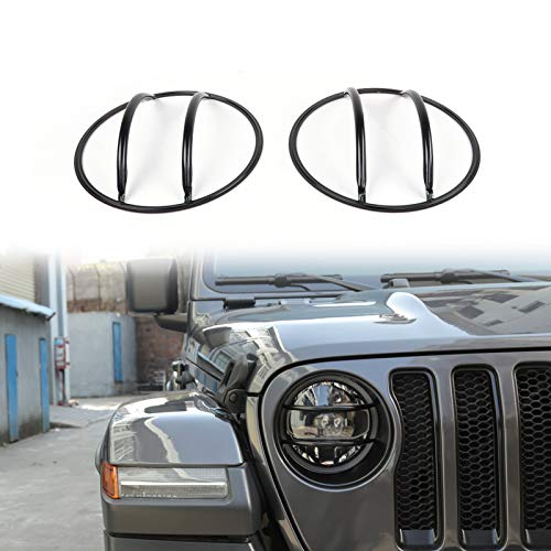 Areyourshop Front Headlight Lamp Guard Protector Cover Trim For Wrangler JL ()