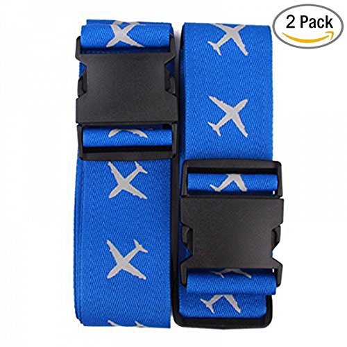 Price comparison product image Beschan Suitcases Cross Luggage Strap Travel Belt Tags (American Blue)