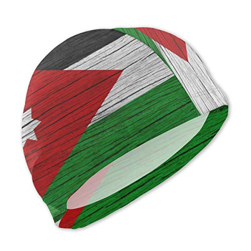 Jordan Wooden Texture Jordan National Flag Swimming Pool Bathing Shower Caps Hat Head Cover Waterproof Reusable for Kid Girls Boy Junior Toddler Children Baby Beach Dress Clothing