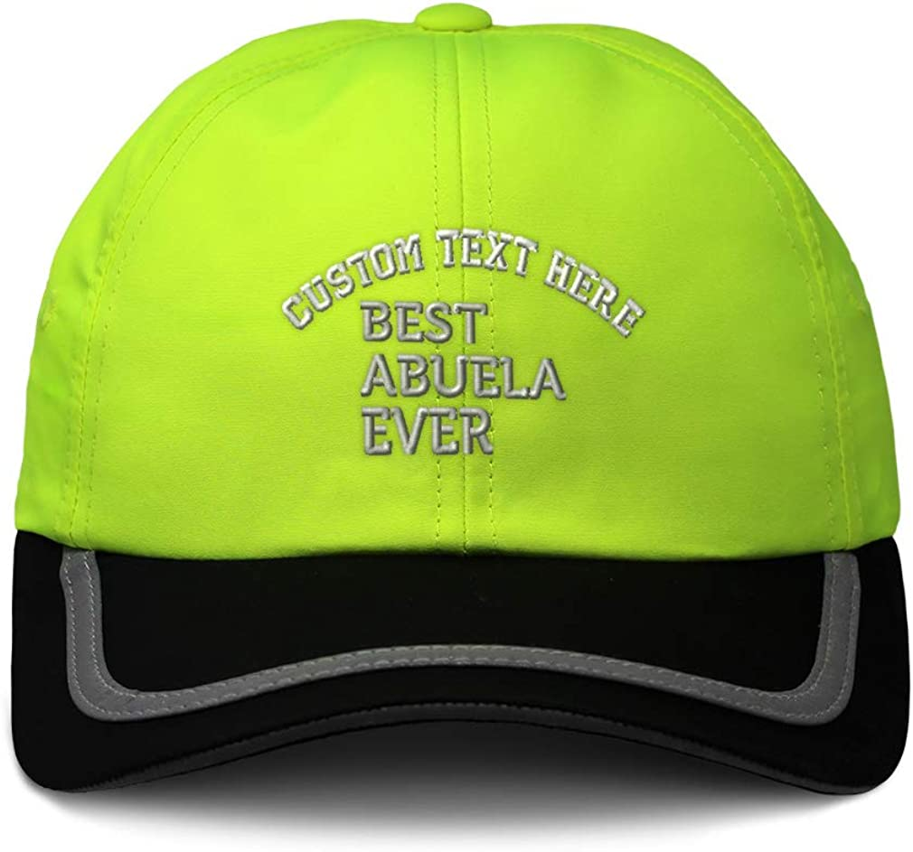 Custom Reflective Running Hat Best Abuela Ever Embroidery Polyester One Size