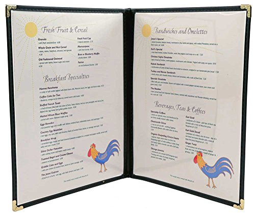 Vinyl Sewn Edge Menu Covers - Cafe Style Menu Covers - 8.5 X 14, Black Pack of - Menu Vinyl Cover