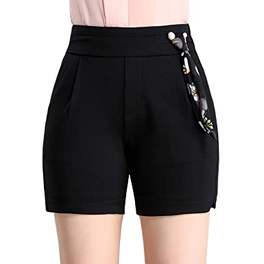 18bf4d8786 DISSA F3126 Shorts Pantalons Court Taille Haute Grande Taille Mode Femme:  Amazon.fr: Vêtements et accessoires