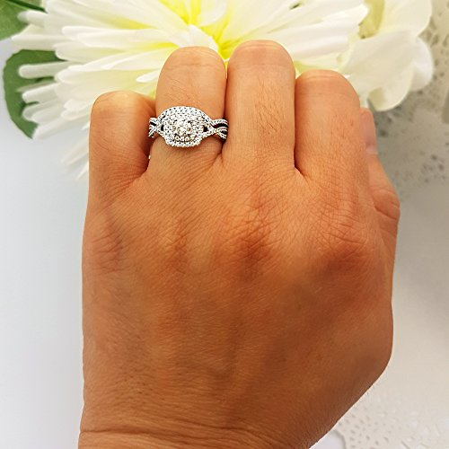 1.40 Carat (Ctw) 10K White Gold Round Cut Cubic Zirconia Ladies Halo Engagement Ring Set (Size 6) by DazzlingRock Collection (Image #3)