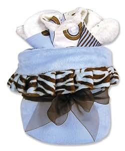 Trend Lab Blanket Gift Cake, Zebra Blue (Discontinued by Manufacturer)