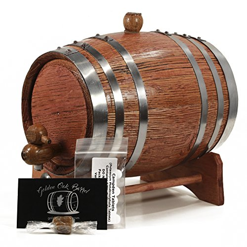 (Handcrafted American Oak Aging Barrel | Age your own Whiskey, Bourbon, Tequila, More | Aging and Recipes Digital Guide included (CHERRY W/SILVER, 2 Liter))