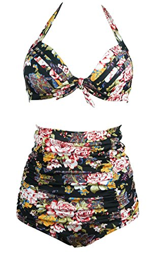 COCOSHIP Floral Halter Carnival Swimsuit
