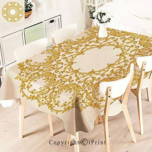 Premium Polyester Printed Tablecloth,Gold Floral Round Circle with Baroque, Idle for Grand Events and Regular Home Use, Machine Washable,W55 xL55,Cream