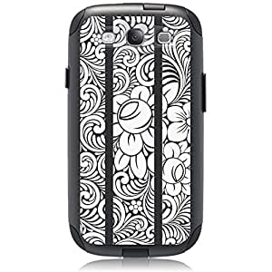 Unnito Samsung Galaxy S3 Hybrid Case, [Dual Layer] *1 Year Warranty* Case Protective [Custom] Commuter Protection Cover (Black - Japanese Flowers)