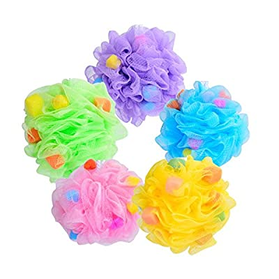 DECORA 5 Pieces Beautiful Loofah Bath Sponge Shower Mesh Pouf Exfoliating Sponge Large for Men and Women