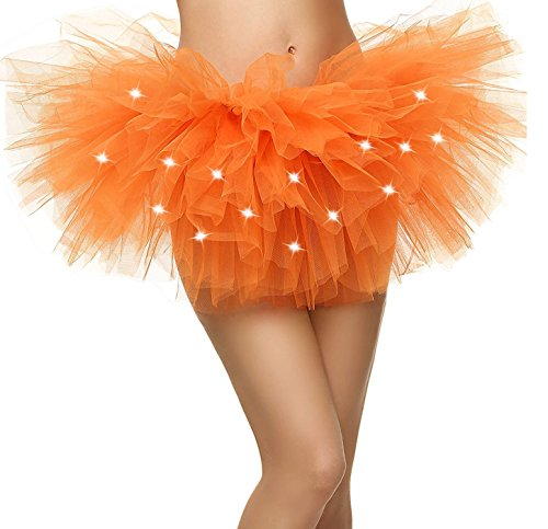 Tulle Tutu (Women's LED Light Up Neon Tulle Skirt Fun Warrior Run Rave Party Tutu, Orange)