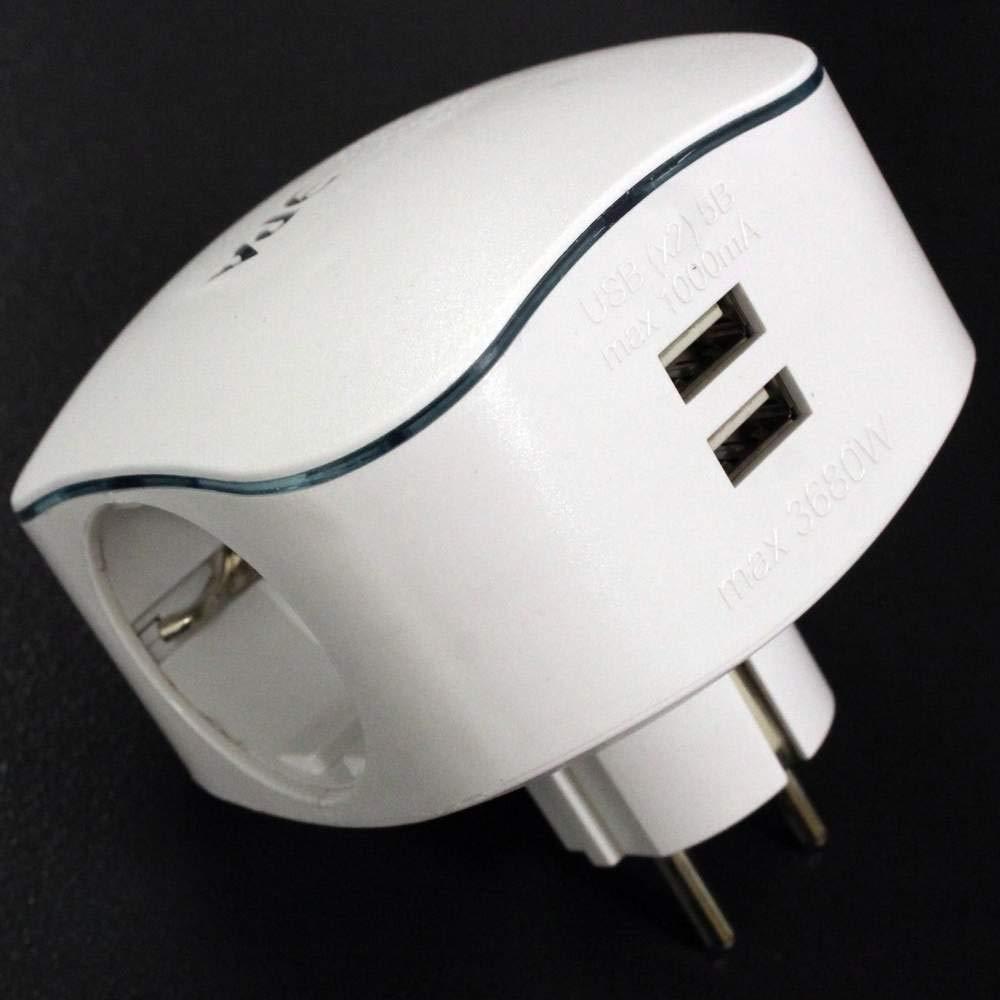 Cablematic - Multiplicador de clavija enchufe schuko triple de color blanco con cargador USB 5VDC Cablematic.com PN03121418200124407