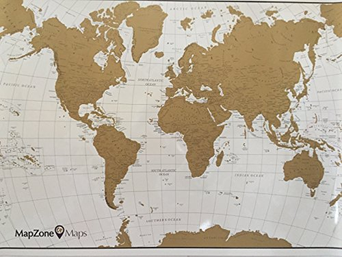 MapZone Maps - Scratch off World Travel Map - White and Gold with USA - Scratch off Tool - Gold Map