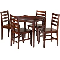 Winsome Kingsgate 5-Piece Dining Table with 4 Hamilton Ladder Back Chairs, Brown