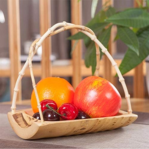 JIANword Fruit Plate Bamboo Root Handle Creative Crafts Hard and Compact Anti-Pressure Bending Fruit and Vegetable Basket Snacks Storage Hotel Restaurant Supplies