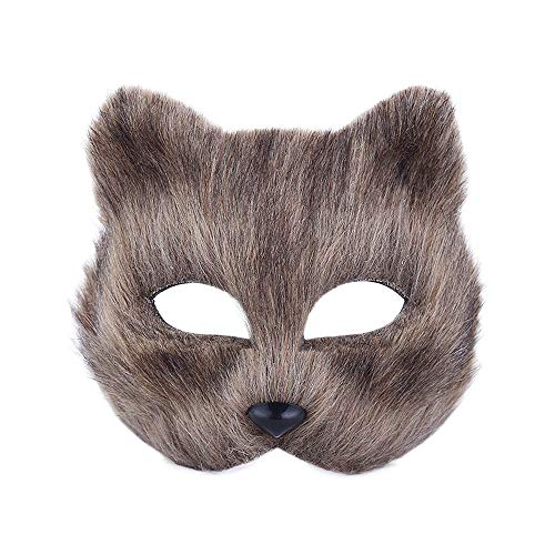 XINdream Animal Furry Half Face Mask, Masquerade Short Hair Shape Christmas Halloween Accessory Carnival Theme Party Cosplay Costume Movie Prop Headgear for Male and Female -