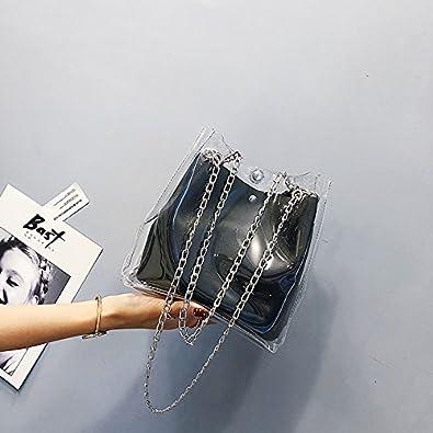 TOOGOO Petits sacs a seau pour les femmes Fourre-tout transparents en plastique Sac a chaine composite Mini sacs a main de gelee pour femmes Noir
