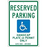 NMC TMS305H, 18''x12'' All Purpose Aluminum Reserved Parking Handicap Plate Or Permit Only Sign, Pack of 12 pcs