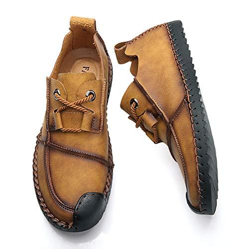 Cuero Libre para de Casual Marrón Hombres de en Oxford Caminar conducción Zapatos los Suave la Causal Aire de Loafer al qBUAx5