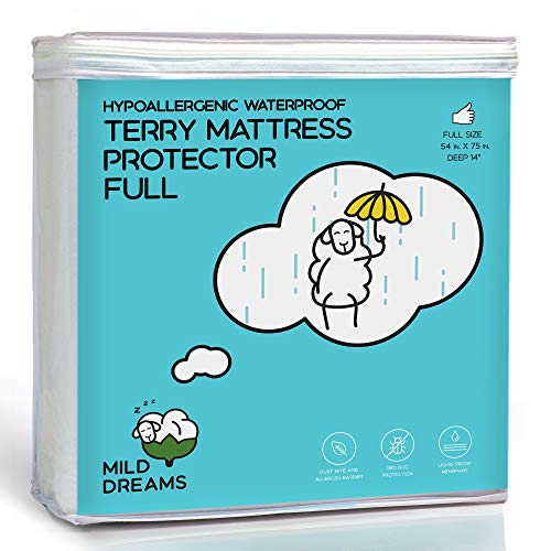 Milddreams Waterproof Mattress Protector Pad Full Cotton Terry Cover - Size (54x75+14 inch Deep Pocket) - Plactic Bed Cover - Waterproof Fitted Sheet - Hypoallergenic - Vinyl Free -