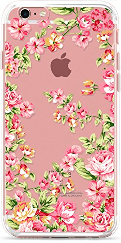 iPhone 6S Plus Case, iPhone 6 Plus Phone Cover,ROOEL [Flower Floral Rose Artrtwork Pattern] Slim Soft Protective TPU Bumper Frame Hard Clear Transparent Acrylic PC Plastic Back