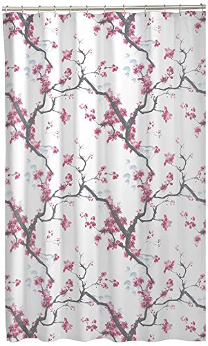 MAYTEX Cherrywood Blossom Fabric Shower Curtain, Multi Floral, 70 inches x 72 inches - DESIGN: Featuring a beautiful floral cherry blossom design on soft microfiber. The inviting hues of pink, red, grey and brown on a white background will instantly brighten up your space MEASURES: 70 inches x 72 inches and fits standard size shower / bathtub areas EASY CARE: The fabric shower curtain is machine washable for easy care - shower-curtains, bathroom-linens, bathroom - 51jWtgWQzgL -