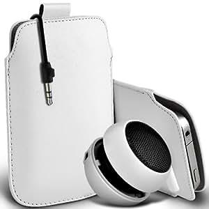 Sony Xperia T premium protección PU ficha de extracción Slip Cord En la cubierta de la caja del filtro del bolsillo de la Piel y Mini recargable portátil de 3,5 mm Cápsula Viajes Bass Speaker Jack White por Spyrox