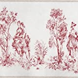 22938104 - Chantilly Red Frise Jouy Casadeco Wallpaper Border