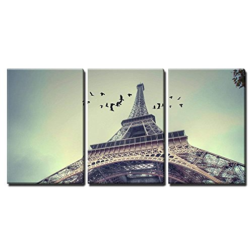 wall26 - 3 Piece Canvas Wall Art - Window to Paris. Architecture of Paris .France. Europe - Modern Home Decor Stretched and Framed Ready to Hang - 24