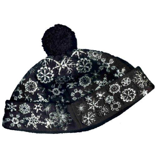 saks-fifth-avenue-girls-snowflake-pom-pom-winter-black-bucket-hat-fits-2-to-4-years