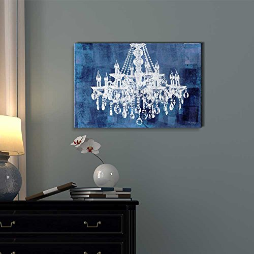 Wll Art Crystal White Chandelier on Grunge Blue Background and Stretched