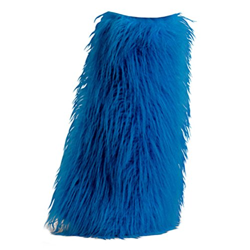 [Women's Boot COVERS Sexy Faux Fur Boot SLEEVE Theatre Costumes Accessory Blue] (Sexy Halloween Cost)